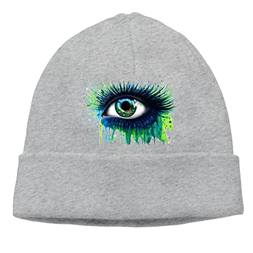 8a772ff5b35e3 Amazon.com  Outdoor Graffiti Tie Dye Eyes Art Mens Knit Beanies Hats For  Womens Cotton Winter Adult Trucker Baseball Caps Snapback  Clothing