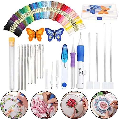 Magic DIY Embroidery Pen Knitting Sewing Tool Punch Needle + 50 Threads