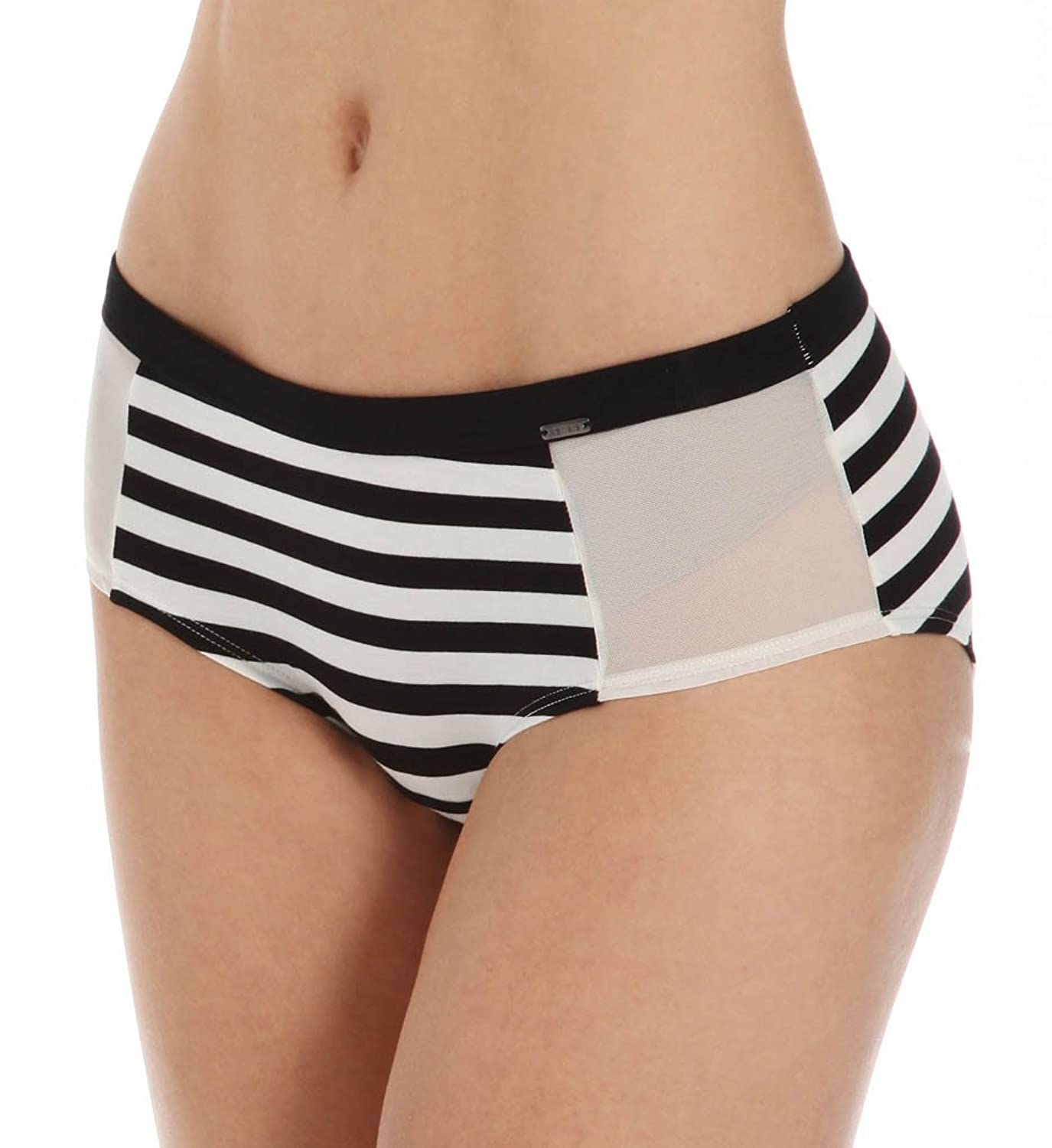 Kensie Women's Striped Side Ivory Mesh Black Stripes Boyshort Panties