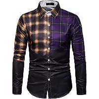 Jinyuan Plaid Patchwork Clothes Men Slim Fit Casual Shirt Long Sleeve Large Size Tops Males Fashion Elegant Blouse…