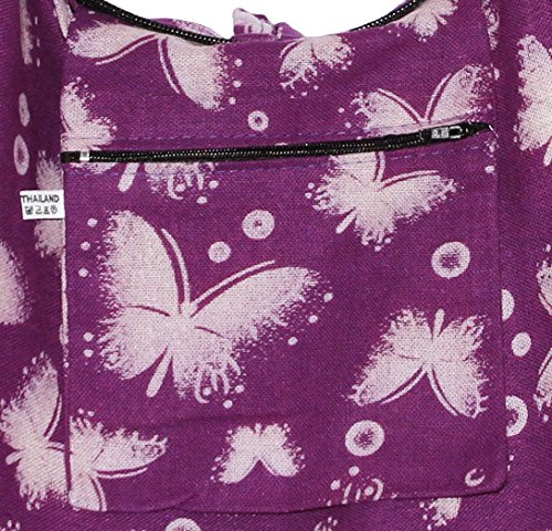 Boho Bohemian Shoulder Butterfly Crossbody Bag Violet Hobo Hipster Hippie wISSxdqOT