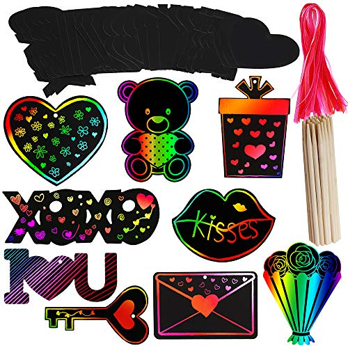(Supla 27 Set Valentine's Day Ornaments Magic Scratch Art Rainbow Scratch Paper Ornaments Cutouts with Holes Hang Tags Favor Tags Gift Tags Treats Tags with Organza Ribbons and Scratching Tool)