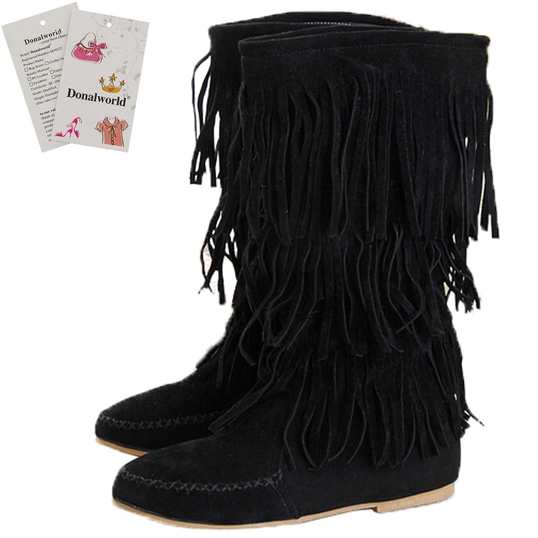 Women Tassel Shoes Round Closed Toe Hidden Heel Boots Black2 Asia Size 42