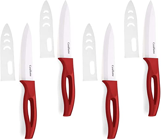 Ceramic Knife Cerahome Ceramic Kitchen Knife Set With Sheath Super Sharp Kitchen Knives 4inches Fruit Knifered
