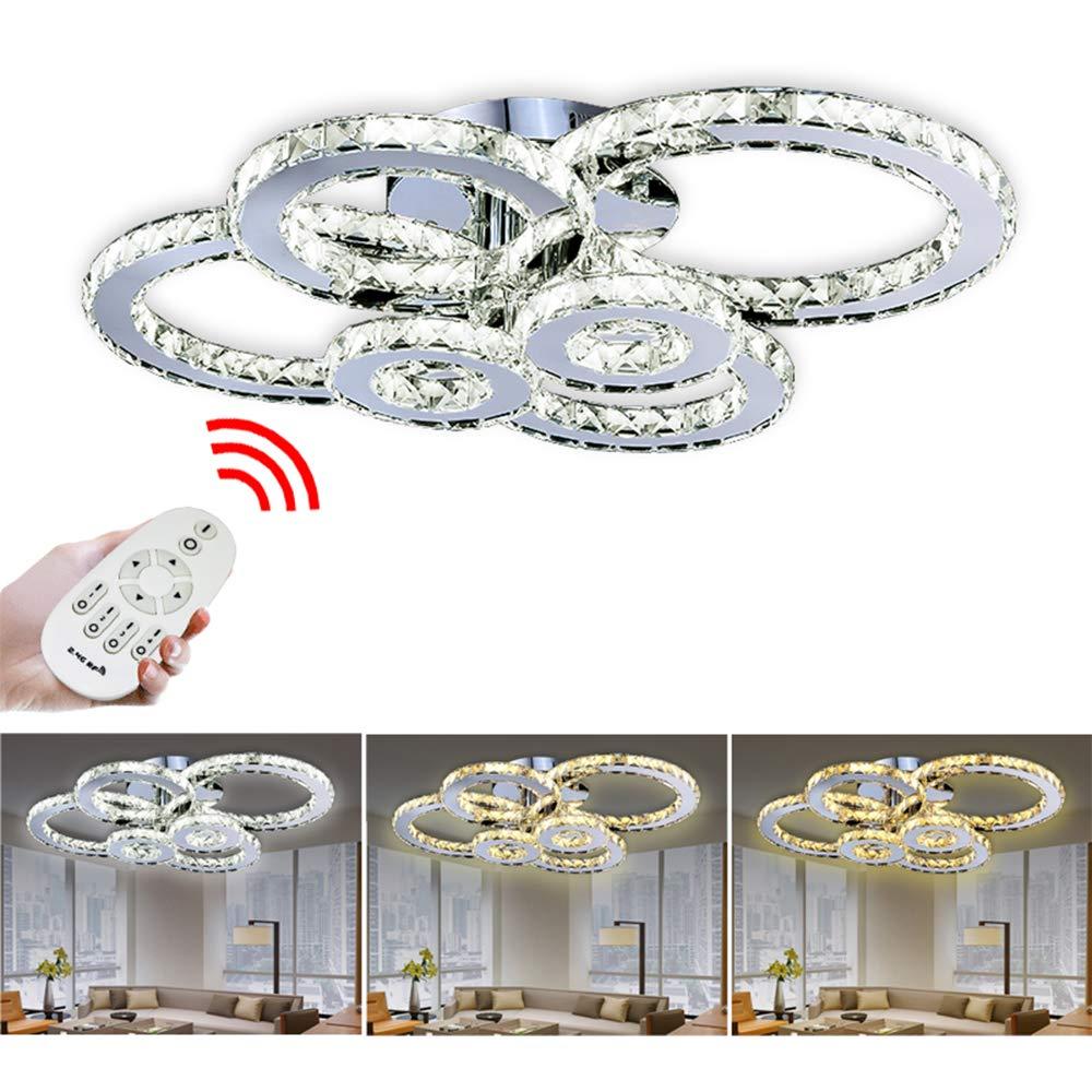 Hengda® 96W Luxus Kristall Deckenleuchte, Dimmbar, 960-8640 LM Deckenbeleuchtung Mit Fernbedienung 6 Ringe Deckenlampe