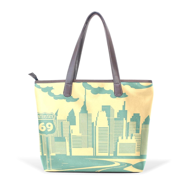 Womens Leather Tote Bag,Vintage Travel Tourism City Building,Large Handbag