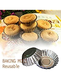 Want 10Pcs Aluminum Alloy Daisy Cup Pudding Cake Mold Egg Tart Mould lowestprice