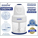 ZODIN Electric Kitchen Chopper 250 Watt - 100% Copper Motor for Vegetables and Fruits