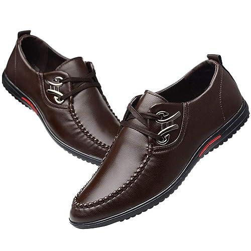 16980fe31c07b Zapatillas Running Hombre Zapatillas Hombre Zapatos De Cuero Casual De  Negocios De Moda para Hombres con Cordones Zapatos De Conducción Suaves   Amazon.es  ...