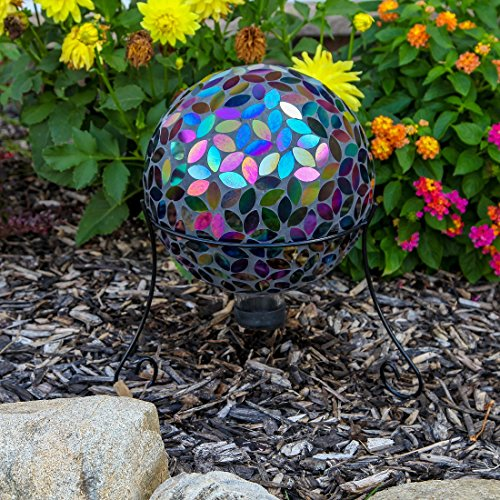 Lily's Home Colorful Mosaic Glass Gazing Ball, Designed with a Stunning Holographic Petal Mosaic Pattern to Bring Color to Any Home and Garden, Silver & Purple (10 Inches Dia.) by Lilyshome (Image #3)