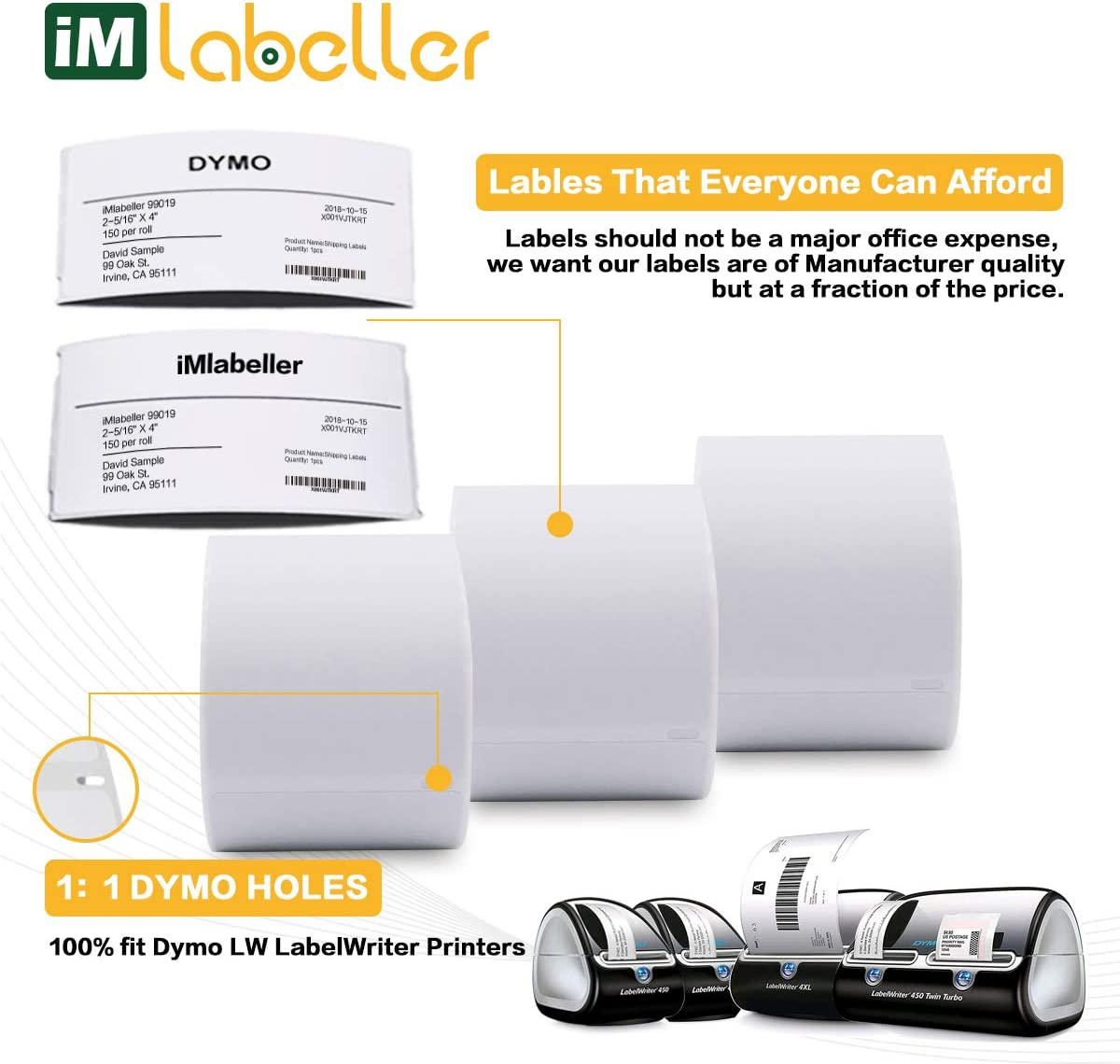 iMlabeller Multipurpose Address Barcode Labels 1x2-1//8 Compatible with 30336 Labels work for DYMO Labelwriter 400 450 Turbo Printer 12 Rolls for 6000 Pcs