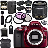 Nikon D3300 DSLR Camera with AF-P 18-55mm VR Lens (Red) + EN-EL14 Replacement Lithium Ion Battery + External Rapid Charger + Sony 64GB SDXC Card + Carrying Case Bundle