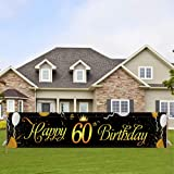 Large Happy 60th Birthday Banner,Cheers to 60 Years Flag,Black Gold 60 Anniversary Party Sign Party Decorations Celebration F