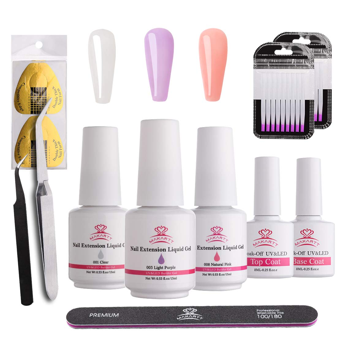 Makartt P-28 Poly Nail Liquid Gel Kit Fiberglass Nail Extension Set Quick UV LED Nail Builder Gel Enhancement Tool with Top Base Coat, Nail Form for Nail Art at Home by Makartt