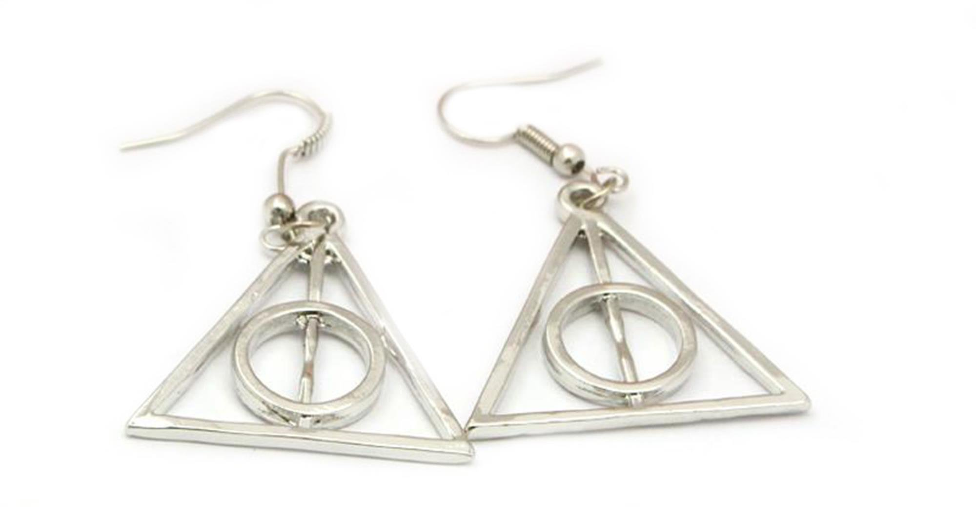 Outlander Harry Potter Silver Deadly Hallows Logo Earring Dangles In Gift Box From