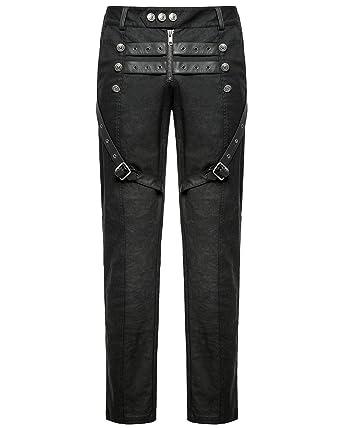 cc2697783ba85 Punk Rave Mens Dieselpunk Pants Jeans Black Goth Leather Strap Military  Trousers  Amazon.co.uk  Clothing