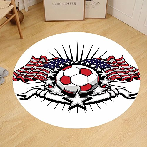 Gzhihine Custom round floor mat Sports Decor Collection Stars And Stripes Patriotic American Soccer With American Flags Bedroom Living Room Dorm by Gzhihine