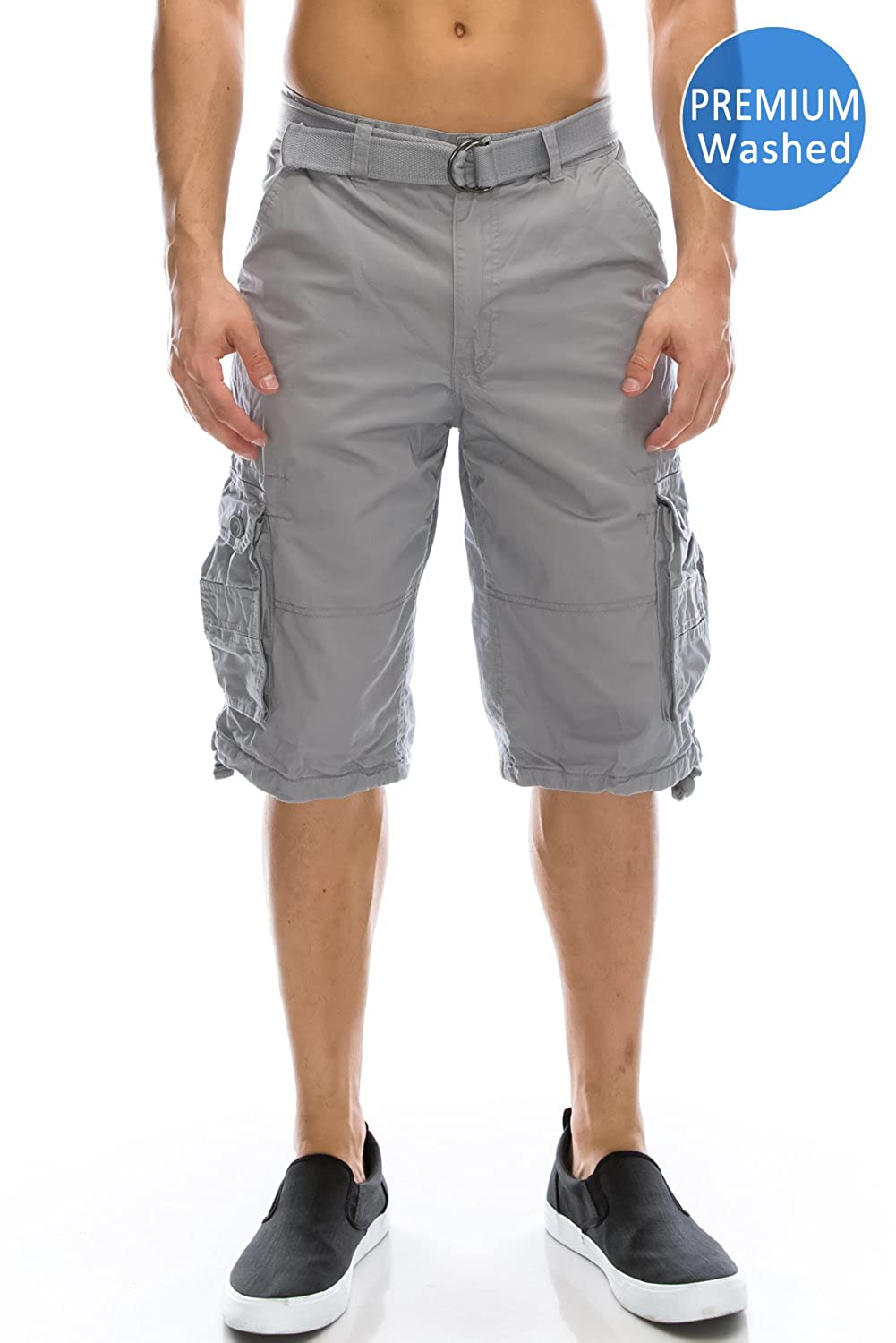 JC DISTRO Mens Hipster Hip Hop Belted Premium Washed Cargo Shorts (Big Size Upto 58)