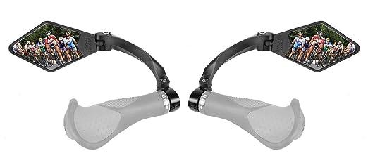 Venzo bicicleta bicicleta manillar espejo de acero inoxidable, Par negro: Amazon.es: Deportes y aire libre