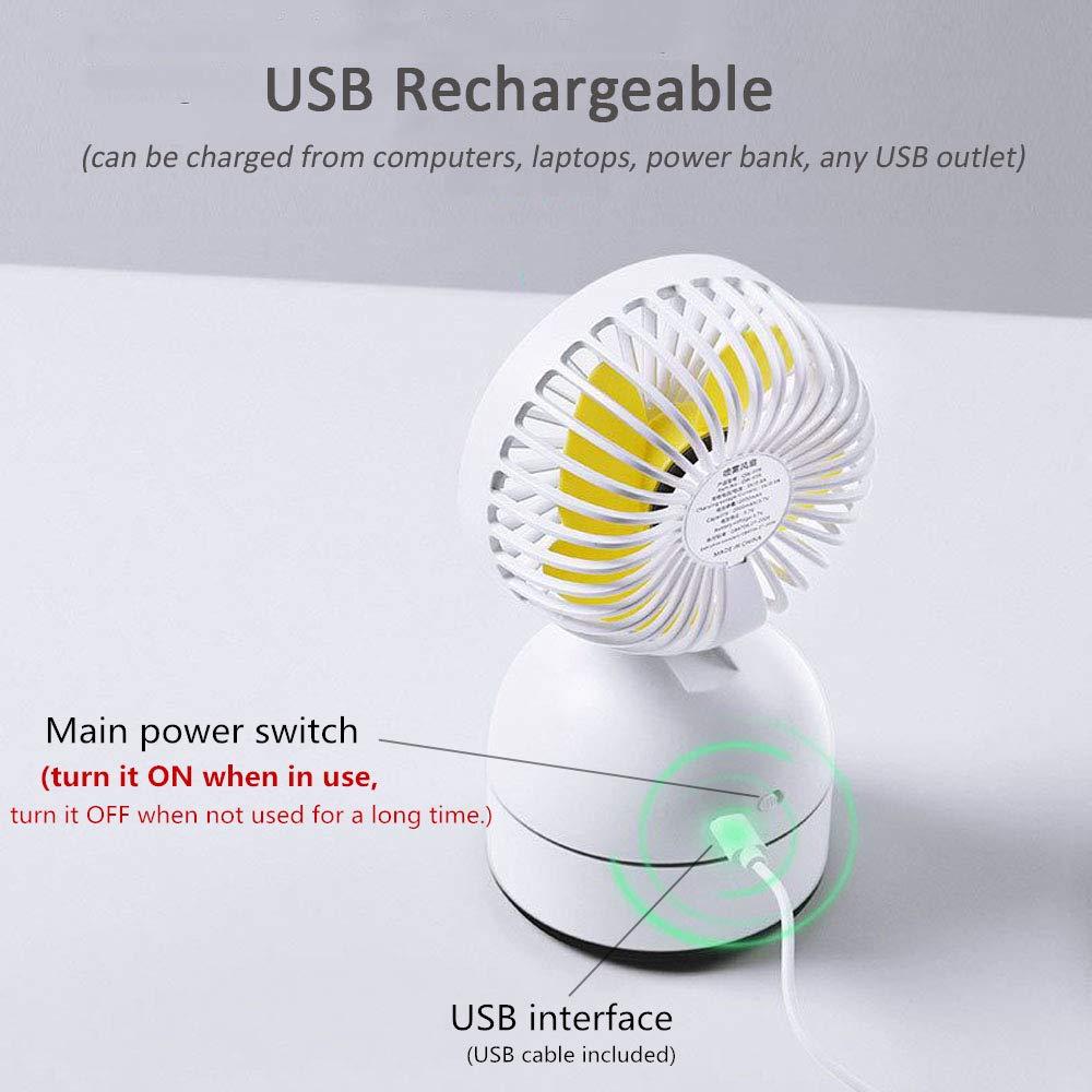 LUXNOVAQ Fan Petit Ventilateur Rechargeable Piles Ventilateur Tablette Humidificateur Portatif pour Maison Voyage Mini Ventilateur Brumisateur deau USB Ventilateur de Bureau Blanc