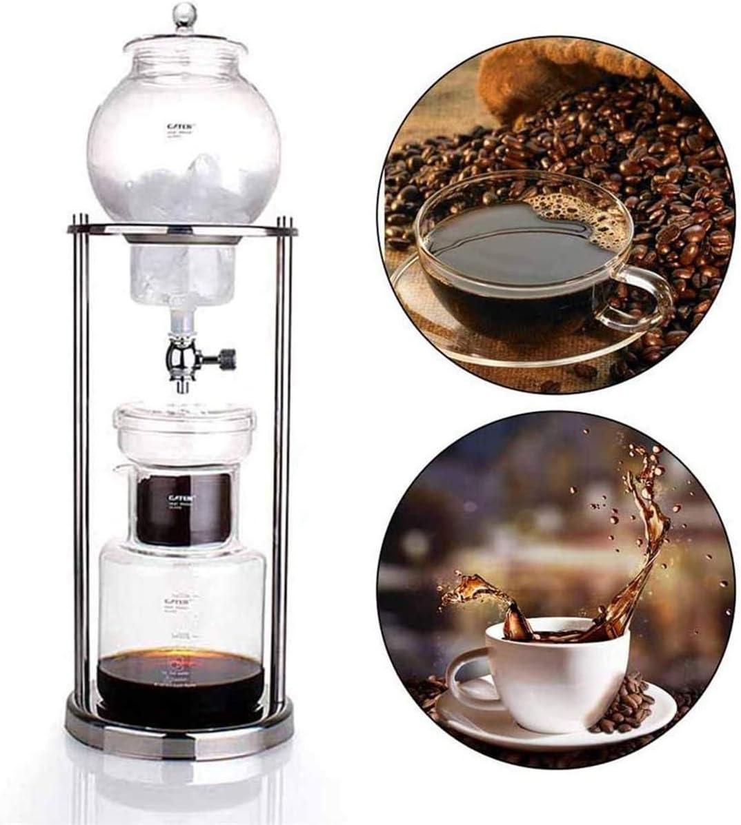 Agua Infusión Cafetera, filtro de vidrio reutilizables herramienta Espresso gotero fría como el hielo Máquina de hielo frío Brew Cafetera,1000ml