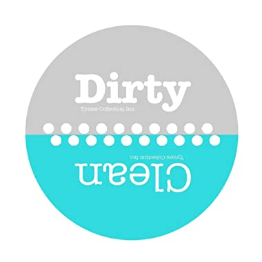 3.5  WaterPROOF Clean & Dirty  Polka Dot Design Dishwasher Premium Magnet. MADE IN USA (Turquoise/Aqua & Gray) (Aqua/Gray)