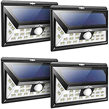 Litom 24 LED SOLAR LIGHTS OUTDOOR, Super Bright Motion Sensor Lights with Wide Angle Illumination, Wireless Waterproof Security Lights for Wall, Driveway, Patio, Yard, Garden- 4 PACK