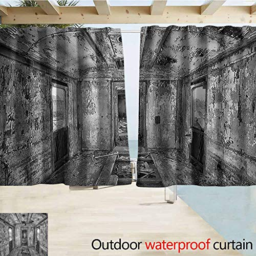 MaryMunger Outdoor Blackout Curtains Rustic Antique Railway Wagon Rod Pocket Energy Efficient Thermal Insulated W72x72L Inches