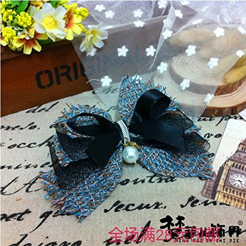 usongs Sleeper Mayfair hair accessories fabric bow spring holder top edge clamps crimp clip pearl hairpin clip card ()