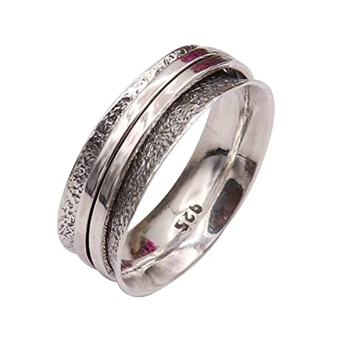Bohemian Ring Gift For Women Sterling Silver Ring Fidget Ring Anxiety Ring Star On Spinner Band Ring Handmade Ring Women Silver Ring