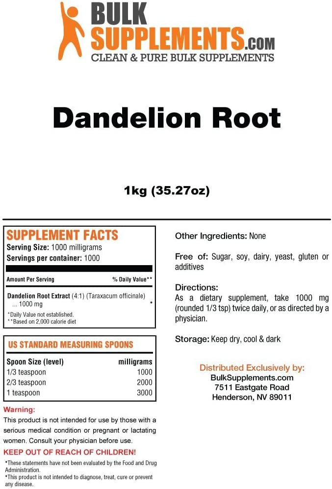 Bulksupplements Dandelion Root Extract Powder 5 kilograms