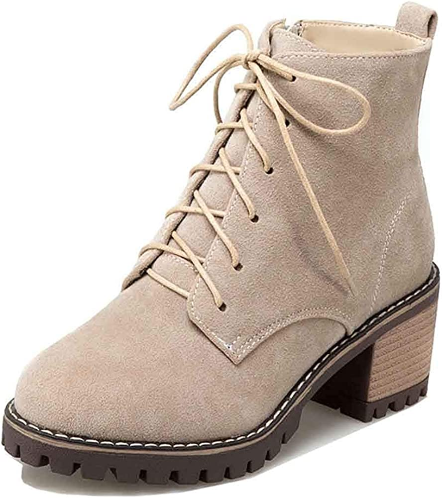 Womens Inside Zip Lace Up Short Booties Mid Stacked Heel Lug Sole Round Toe Ankle Boots with Zipper
