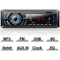 Hoidokly Autoradio Bluetooth, 1 Din 4 x 60W Voiture Stéréo FM Radio, Lecteur MP3 Poste Radio Voiture, Universelle Récepteur Conversation Mains Libres AUX/Carte SD/USB avec télécommande