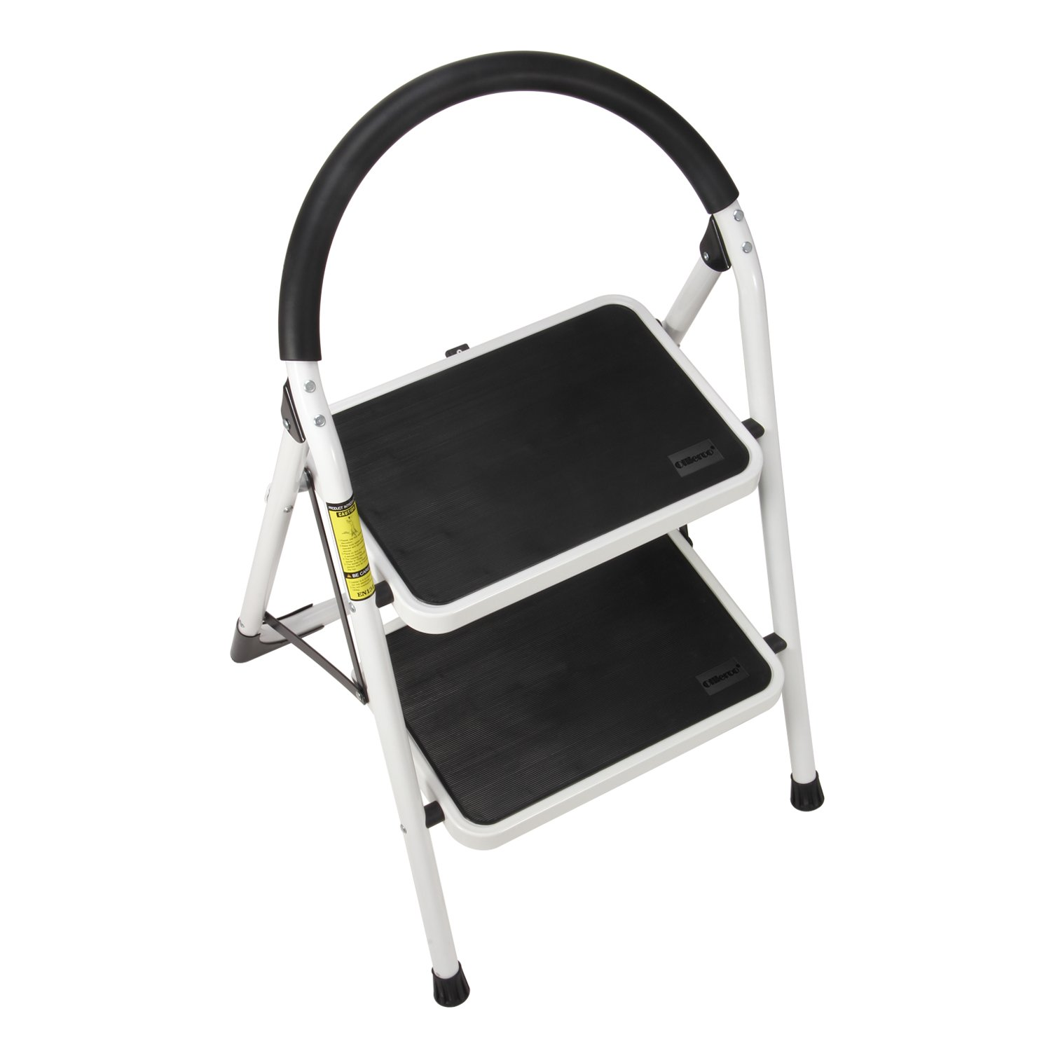 Ollieroo Step Stool EN131 Steel Folding 2 Step Ladder with Comfy Grip Handle Anti-slip Step Mon-marring Feet 330-pound Capacity White by Ollieroo (Image #2)