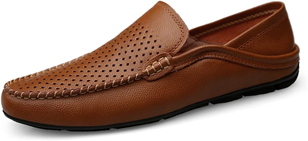 CHENDX Shoes Color : Hollow Brown, Size : 8 D Mens Casual and Refreshing Genuine Leather Drive Loafers Breathable Soft Bottom to Prevent Odor A Foot Pedal Lazy Person Boat Moccasins M US