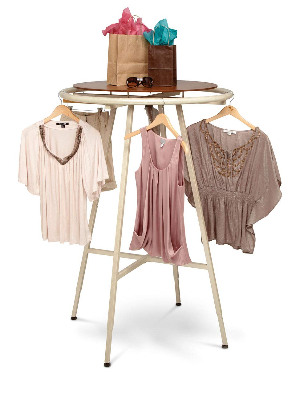 SSWBasics Round Clothing Rack - Ivory (48''-72'' H Adjustable in 3'' increments)