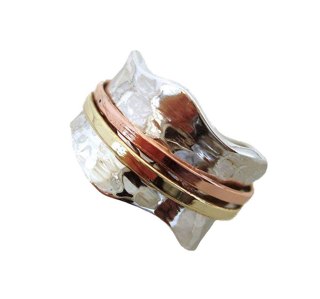 Energy Stone ''BREEZE Classic Hammered Pattern Brass and Copper Spinners Meditation Ring(Style# 797) size 8
