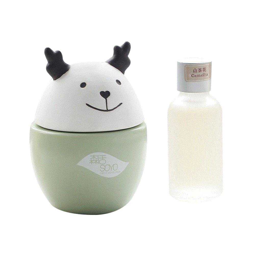 Aolvo Mini Essential Oil Diffuser Kit Creative Cute Ceramic Aroma Oil Diffuser with Aromatherapy Oil No Power Needed Natural Diffusion Portable for Home Bedroom Baby Room Office Store (Camellia)
