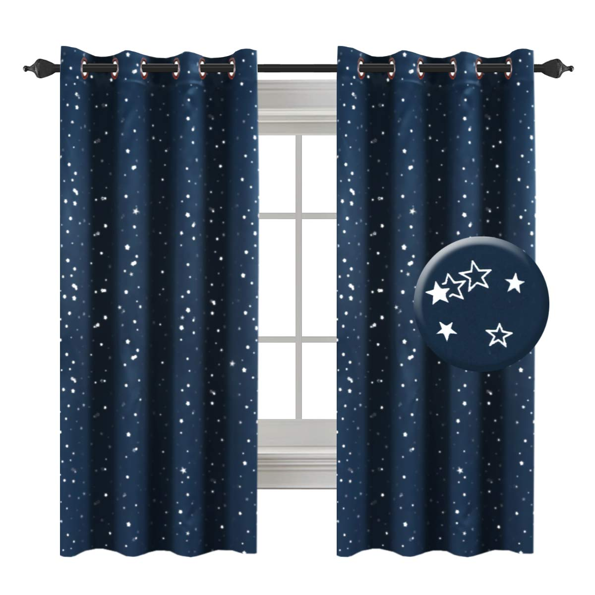 H.VERSAILTEX Full Blackout Thermal Insulated Curtain Panels Star Curtains Boys Room Grommet Star Curtains Kids Room, 52 x 63 - inch - 1 Panel
