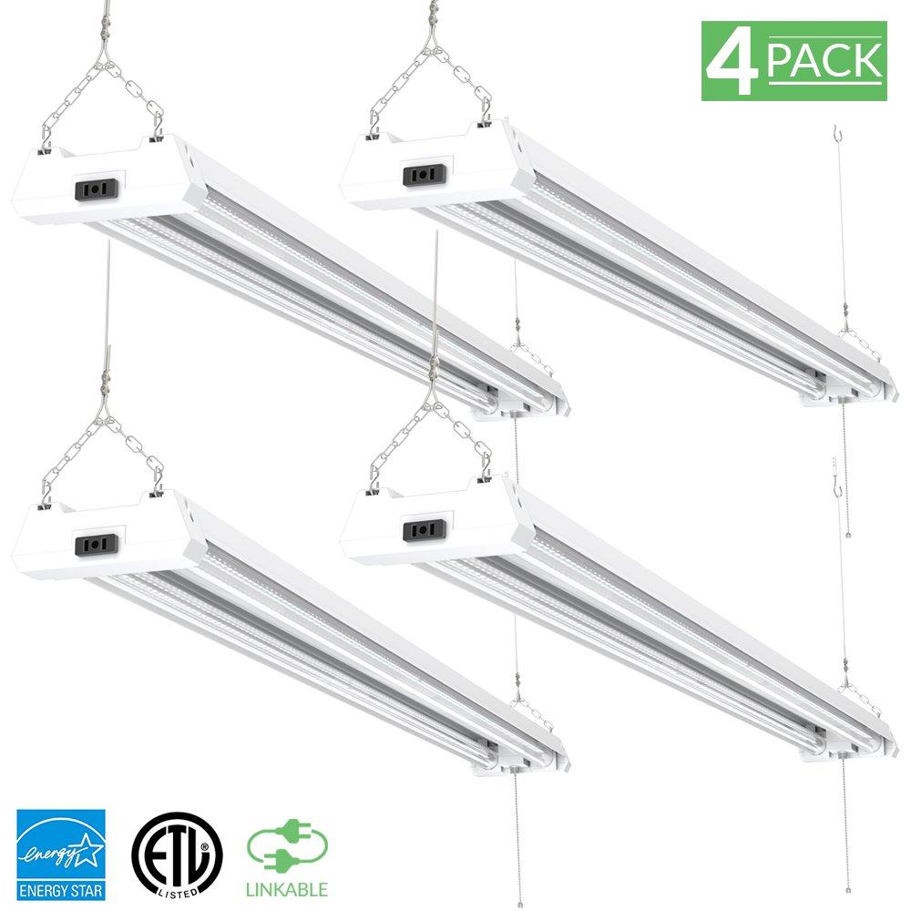 Sunco Lighting 4 Pack 4ft 48 Inch LED Utility Shop Light 40W (260W Equivalent) 5000K Kelvin Daylight, 4500 Lumens, Double Integrated Linkable Garage Ceiling Fixture, Clear Lens - Energy Star/ETL by Sunco Lighting (Image #9)
