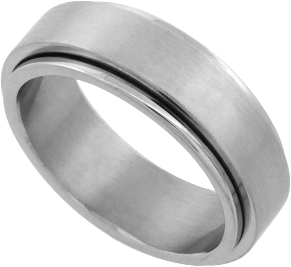 Sizes 7-14 Surgical Stainless Steel 8mm Aztec Wedding Band Ring Etched Design