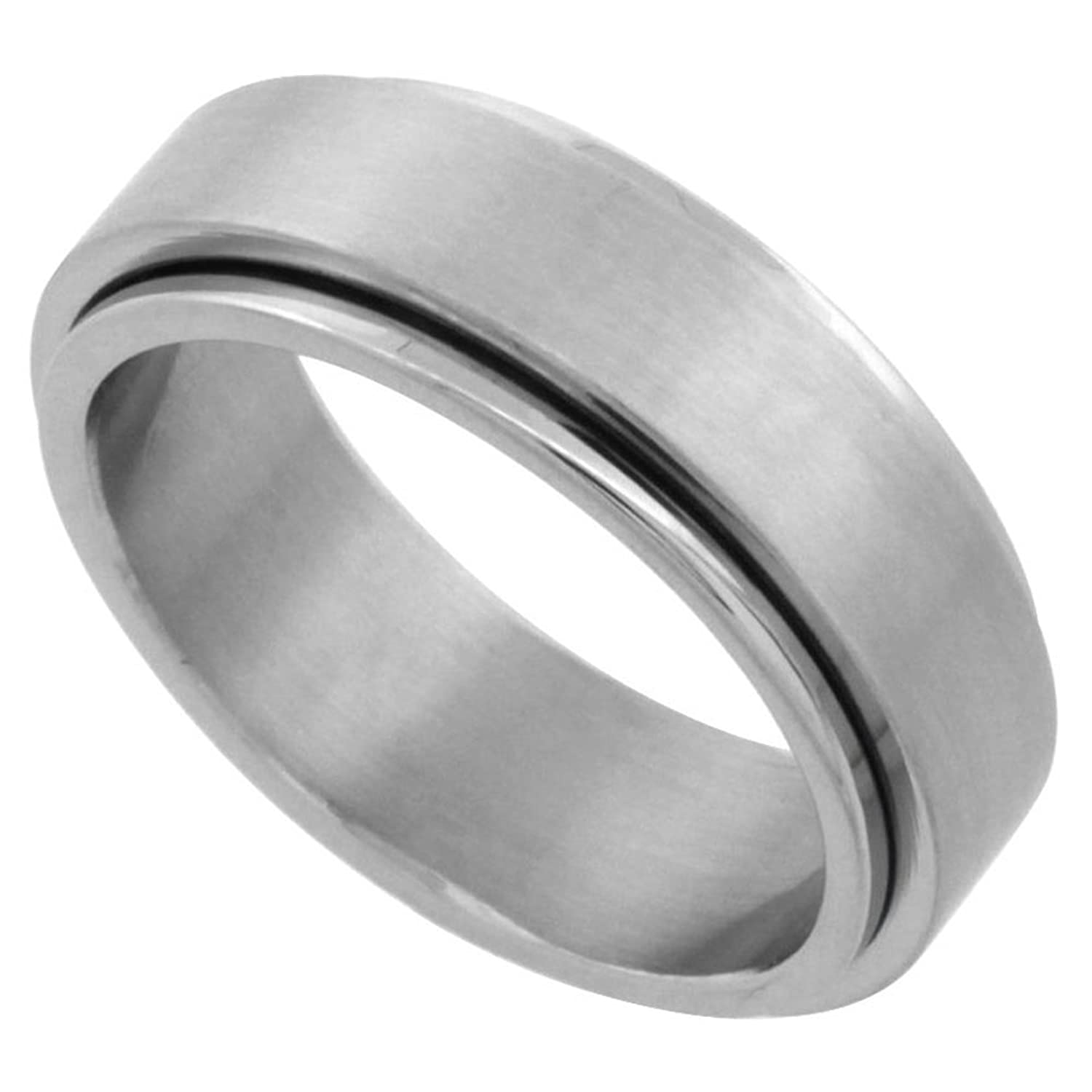 Surgical Stainless Steel 7mm Spinner Ring Wedding Band Matte Finish