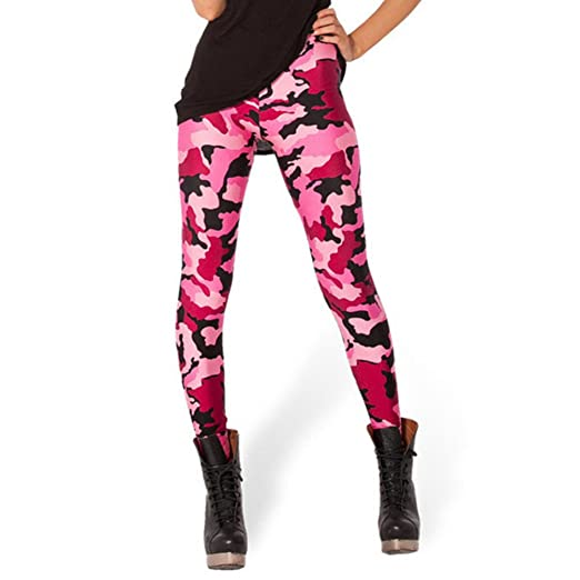 a9851f970ee11 Rantanto Free Size 3D Printed Camouflage Stretch Womens Leggings (Free  Size, W0017 Pink Camouflage) at Amazon Women's Clothing store: