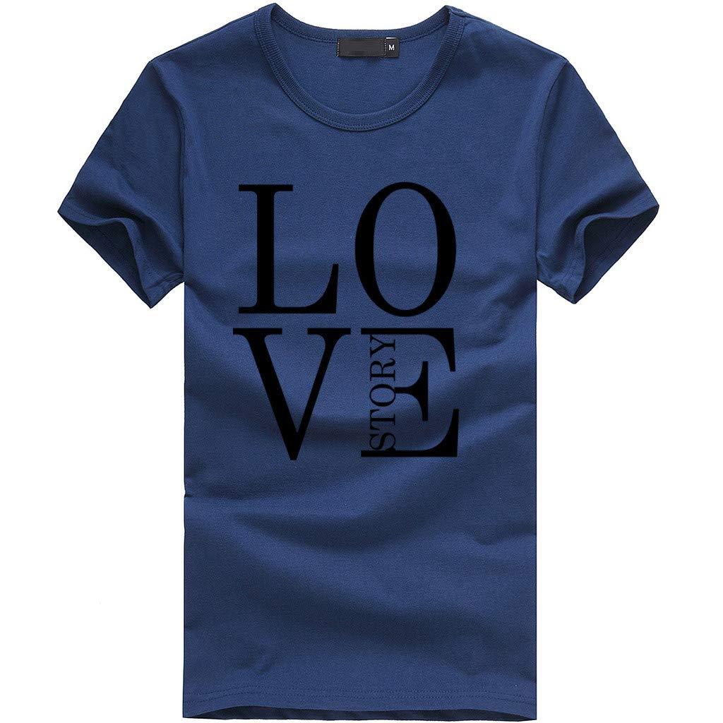 EOWEO Big 2019 Women Girls Print Tees Shirt Short Sleeve T Shirt Blouse Tops (Small,Navy)