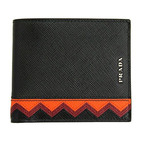 Prada Mens Black Saffiano Greche Leather Bi-fold Wallet 2m0513 Nero+Papaya