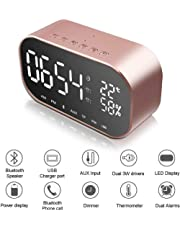Multi-Function Bluetooth Speaker Home Bedroom Double Alarm Clock Speaker Smart Wireless Audio Subwoofe,FM Radio, Digital Display, Snooze, Sleep Timer, Dimmer for Bedroom, Office, Hotel (Rose Gold)