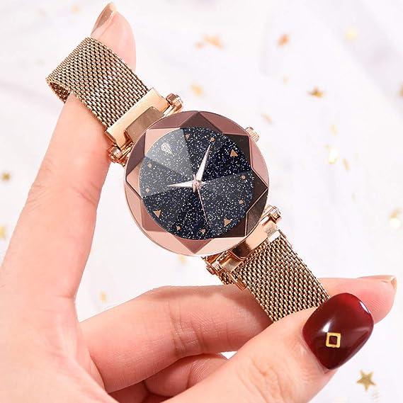Amazon.com : XBKPLO Quartz Watch, Fashion Concise Luxury Convex Glass Starry Sky Analog Wrist Watches Fine Mesh Strap Magnetic Buckle Women Watch Bracelet ...