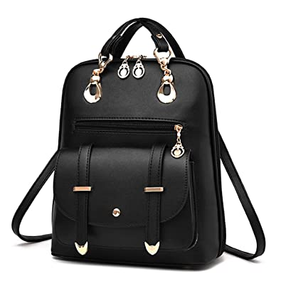 957586c19f53 YIMOJI Fashion PU Leather Bag Women s Girl s Casual Travel Shoulder Backpack  (Black - Locomotive style