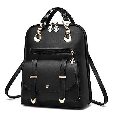 YIMOJI Fashion PU Leather Bag Women s Girl s Casual Travel Shoulder Backpack  (Black - Locomotive style e77bc03cef72e