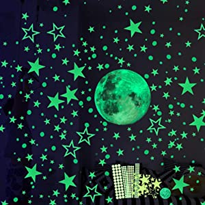 Hauserlin 435pcs Glow in The Dark Stickers, Luminous Dots Stars and Moon Wall Stickers Decor for Kids Bedroom or Birthday Gift, Wall Decals for Any Room, Bright and Realistic